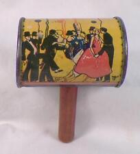 Vintage Tin Noisemaker Toy Dancers Clowns Rattle Wood Handle T Cohn #7