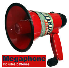 More details for megaphone loudspeaker with siren and volume control - batteries included