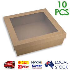 10 x Brown Kraft Square Corrugated Cardboard Catering Trays Boxes w/ Window Lids