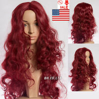 Womens Long Curly Wavy Wine Red Heat Resistant Synthetic Hair Full Wig Cosplay