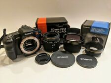 Lot of Sony Alpha α200 Camera Body with 3 Lens Attachments and Camera Bag