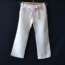 100% ORGANIC COTTON GIRLS PANTS / TROUSERS NATURAL + BELT LINEN WEAVE - ECO LOOK