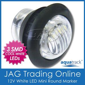 12V 3-SMD LED WHITE ROUND CLEARANCE MARKER LAMP PILOT LIGHT - Trailer/Truck/Boat