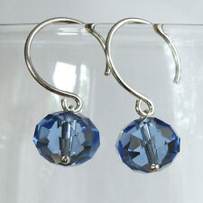 Solid 925 Sterling Silver Earrings With Sky Blue Crystal Glass Rondelle Beads