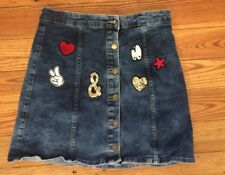 6 Atmosphere Denim Skirt with Decorative Patches Mini Stretch Jean Skirt
