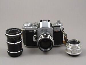 Edixa Flex 35mm SLR camera with 3 lenses