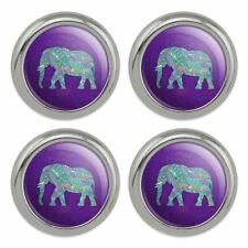 Mosaic Elephant Metal Craft Sewing Novelty Buttons - Set of 4