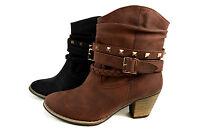 Elegante Herbst Damen Stiefeletten Boots Cowboystiefel Gr.36-41 A.H206 Neu