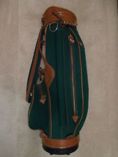 HOT-Z CLASSIC STYLE GOLF BAG - GREEN CANVAS / SADDLE LEATHER - EXCELLENT COND!