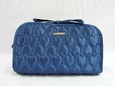 Quilted Hearts Satin Travel Cosmetic Makeup Organizer Bag Blue