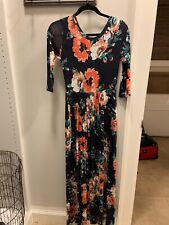Long Floral Maxi With Pockets navy Size Small