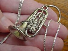 (#M203F) EUPHONIUM Silver Nickel PENDANT NECKLACE Jewelry instrument