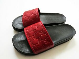 """GUCCI Red Leather Monogram """"GG"""" Pursuit Slides Slippers 10.5 US 44 Euro 10 UK"""