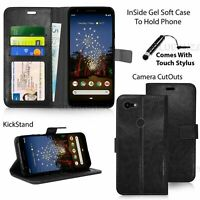 Leather Case For Google Pixel 3A XL / 3A Phone PU Wallet Flip Book Cover Black