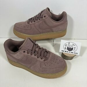 RARE NIKE AIR FORCE 1 SMOKEY MAUVE BROWN RED GUM SOLE SUEDE TRAINERS SIZE UK 4