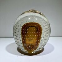 Gorgous Mid Century Rainbow Art Glass Cased Controlled Bubble Paperweight