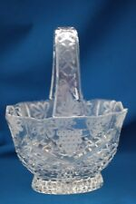 "GODINGER BY SHANNON 10"" CUT CRYSTAL CLEAR FOOTED OVAL BASKET GRAPE DESIGN"