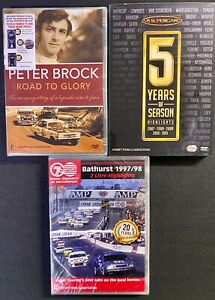3 x Car Racing DVDs - Bathurst 1997/98 + V8 Supercars 2007-11 + Peter Brock Bio