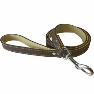 Bunty Dog Puppy Pet Soft Leather Style Brown Long Strong Lead with Metal Clip