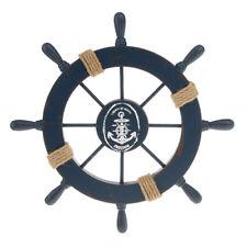 11'' Nautical Beach Wooden Ship Steering Wheel Bedroom Wall Decor Dark Blue