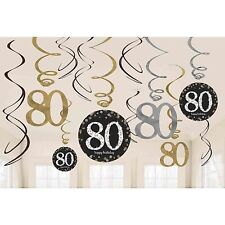 12 x 80th Birthday Hanging Swirls Black Silver Gold Party Decorations Age 80