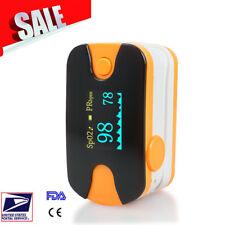 Blood Oxygen Meter Heart Rate Monitor OLED Finger Pulse Oximeter Orange USPS A+