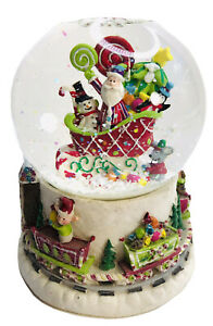 Christmas Snow Globe Santa Sleigh Toys Elves Train Around Base Gifts Children