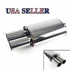 EUROPEAN STYLE FOR BIMMER! 1X SPORT RACE OVAL EXHAUST MUFFLER + DUAL ROUND TIPS