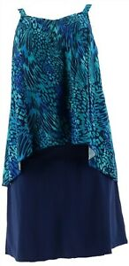 Denim & Co Beach Hi-Low Tankini Swimsuit Skirt Navy Animal 10 NEW A303155