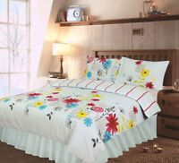 DOUBLE BED COMPLETE SET BLUE FLORAL GREEN TREES RED BLACK STRIPES VALANCE SHEET