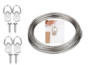 Picture Hanging Kit Heavy Duty D Rings + Screws & Steel Wire for Canvas Hanger