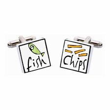 Fish & Chips Cufflinks by Sonia Spencer, gift boxed. Hand painted, RRP £20!