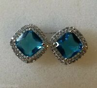 MS Square Aquamarine & cz, silver stud earrings (white gold gf) BOXED Plum UK