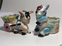 Vintage Set 2 Porcelain Donkey & Flower Cart Planter Japan See pics, Make Offer!