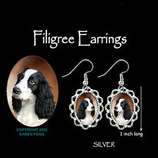 English Springer Spaniel Dog Black White - Silver Filigree Earrings
