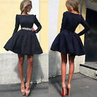 Fashion Women Long Sleeve Bodycon Casual Party Evening Cocktail Short Mini Dress
