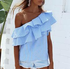 Women Off-shoulder Fashion Long Sleeve Casual Blouse Loose Stripe Tops T-Shirt