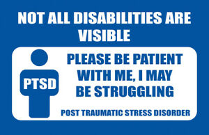 PTSD NOT ALL DISABILITIES ARE VISIBLE ALUMINIUM MEDICAL CARD BE PATIENT CARD