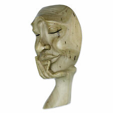 Original Wood Sculpture Mask Hand Carved 'Man in Thought II' NOVICA Bali