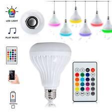 Bluetooth Speaker 12W E27 RGB LED Light Bulb Wireless Music Playing Remote GB