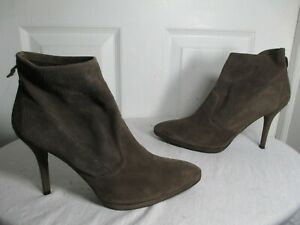 STUART WEITZMAN SUEDE STRETCH BOOTIES ANKLE BOOTS 8 M DARK GRAY