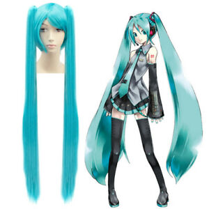 1.2M Cosplay Anime Vocaloid Miku Hatsune Long Wig Costume Party Prop Fancy Dress