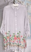 NEW Plus Size 1X Gray Pink Floral Embroidered Shirt Tunic Top Button Blouse