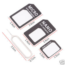 2x Universal Nano Micro Mini Sim Card Adapter Converter To Standard Sim 4in1 Kit