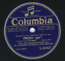 J.C.Bach: Sinfonia  Willem Mengelberg Concertgebouw Orchestra   Columbia 78 rpm