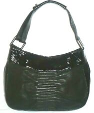 "KENNETH COLE Black Soft Leather & Patent Tote Shoulder bag 14"" x 10"""