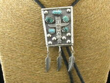 Pattern Genuine Turquoise Bolo Tie Heavy 925 Sterling Silver Native