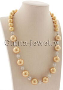 """N8619- 22"""" 12-16mm champagne perfect round south sea shell pearl necklace - GP c"""