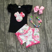 Kids Baby Girls Minnie Mouse Top T-shirt Tee + Pants Shorts Outfits Set Clothes