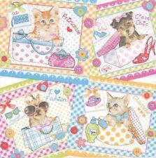 2 Serviettes en papier Chien et Chat Decoupage Paper Napkins Cat & Dog